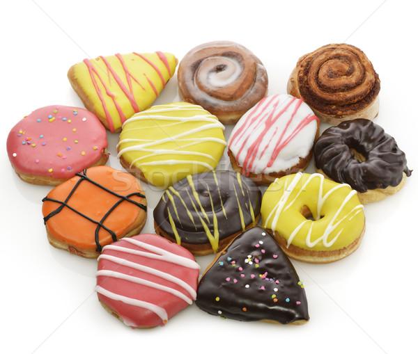 Gyűjtemény színes fánkok fehér csokoládé torta Stock fotó © saddako2