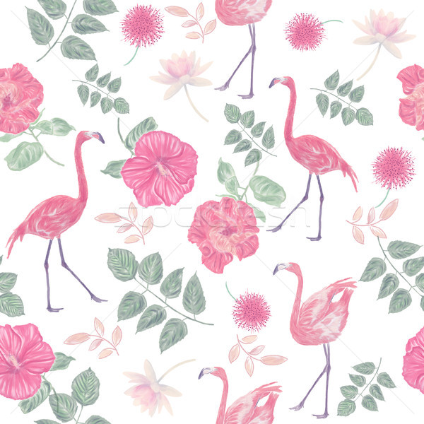seamless  pattern with flowers and flamingos Stock photo © saddako2
