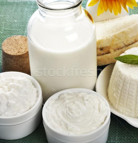 Milchprodukte Milchprodukte up erschossen Glas Brot Stock foto © saddako2