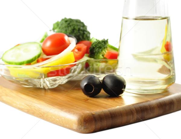 Ensalada petróleo verduras frescas aceite de cocina alimentos cena Foto stock © saddako2