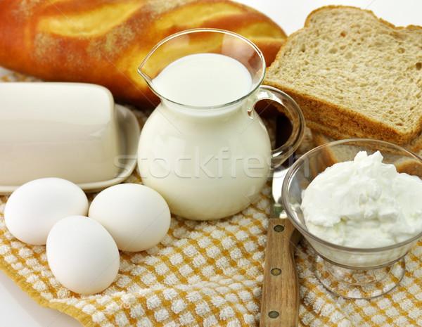 Vers eieren brood melk fles Stockfoto © saddako2
