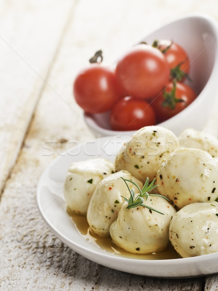 Mozzarella formaggio pomodorini bianco foglia Foto d'archivio © saddako2