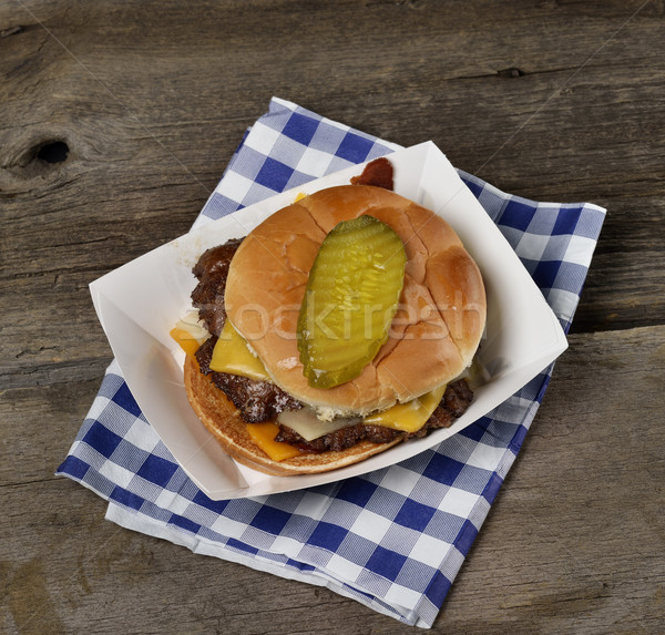Spek cheeseburger sappig top papier Stockfoto © saddako2