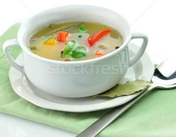 Zupa jarzynowa biały zupa kubek zdrowia zielone Zdjęcia stock © saddako2