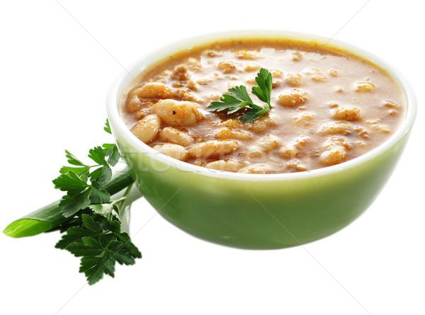 Sopa de frijol tazón placa carne comer zanahoria Foto stock © saddako2
