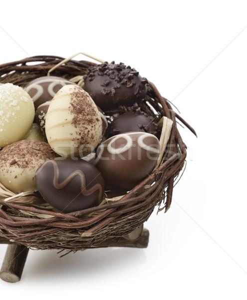 Chocolate Eggs In A Nest Stock photo © saddako2