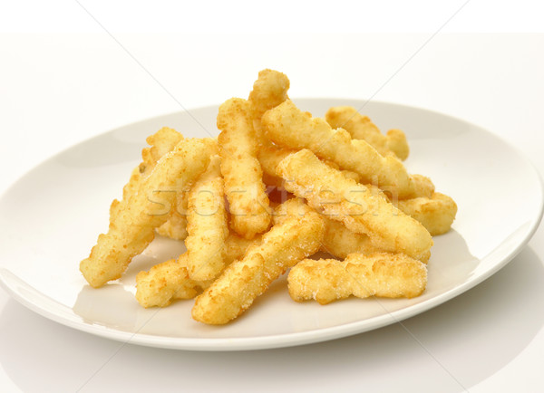 Foto stock: Frito · patatas · blanco · placa · restaurante · grasa