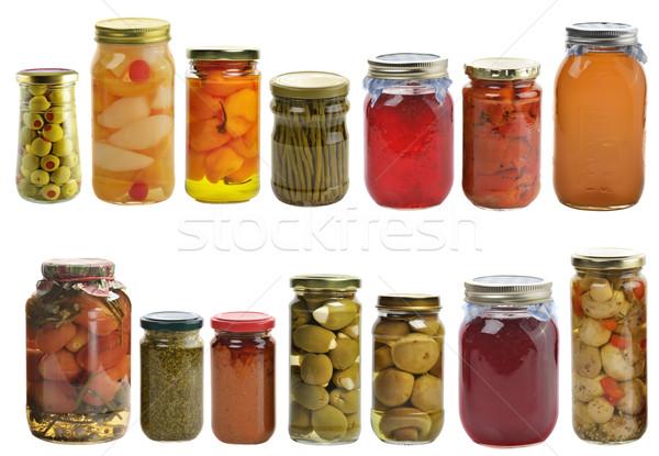 Megőrzött étel gyűjtemény izolált fehér gyümölcs Stock fotó © saddako2