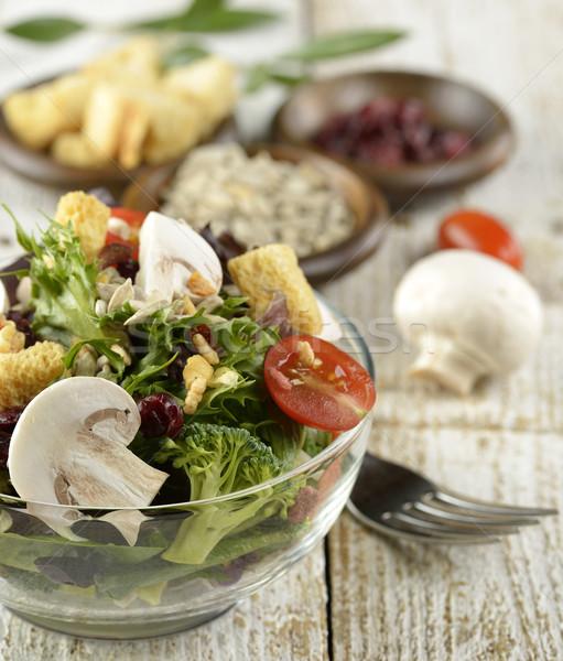 Friss saláta üveg tál friss zöldség étel Stock fotó © saddako2