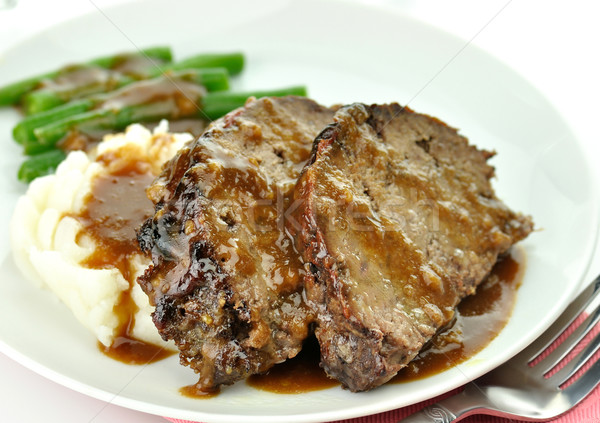 meat loaf with mashed potatoes and green beans Stock photo © saddako2