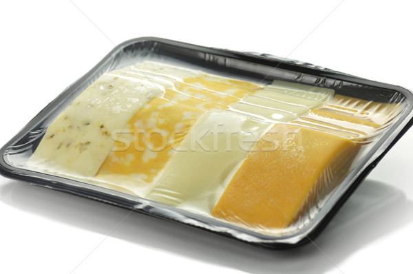 Stock photo: cheese tray slices