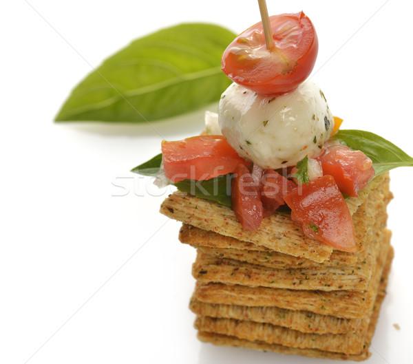 ストックフォト: 全粒小麦 · 前菜 · トマト · チーズ · スパイス