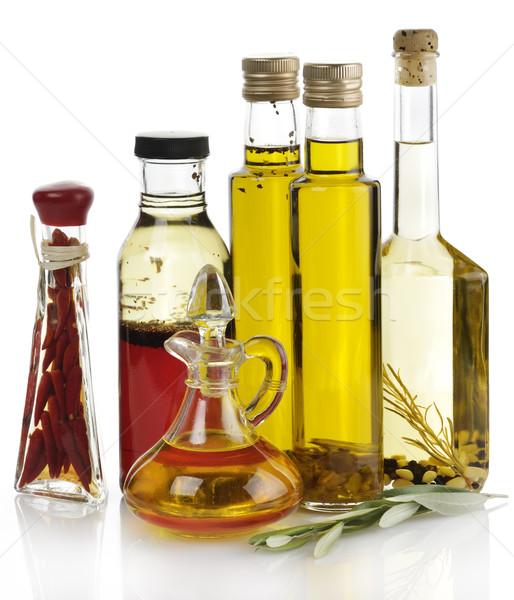 étolaj gyűjtemény fehér üveg olívaolaj fehér háttér Stock fotó © saddako2