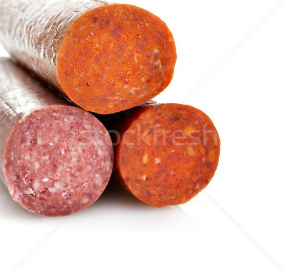 Pepperoni salame bianco sfondo arancione carne Foto d'archivio © saddako2