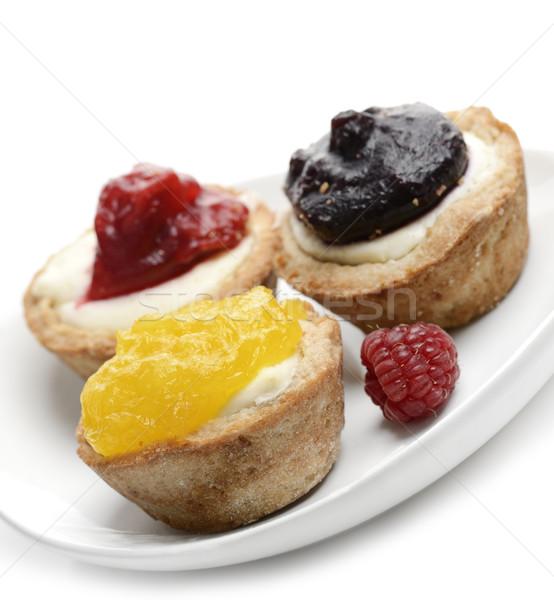 Citron myrtille framboise fraîches baies gâteau Photo stock © saddako2