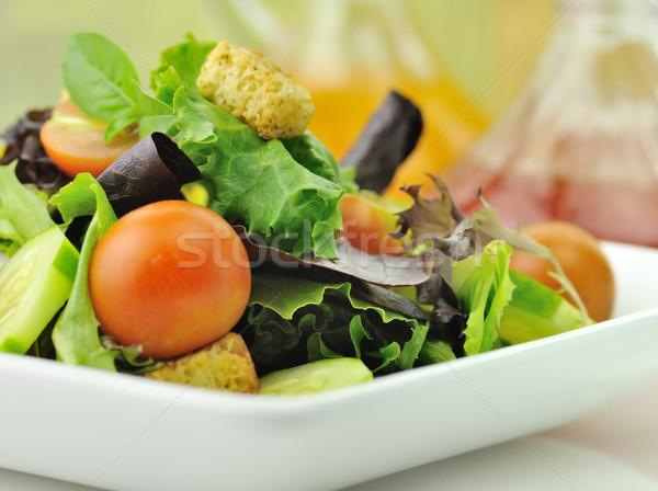 ストックフォト: サラダ · 背景 · 緑 · ディナー · トマト