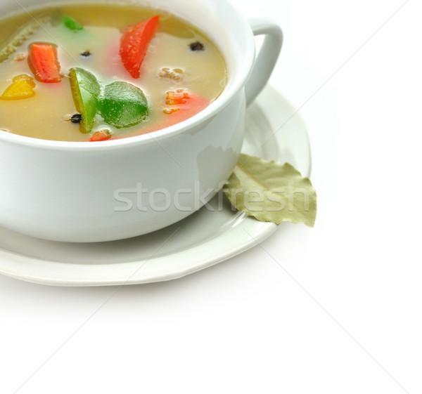 Sopa de legumes branco sopa copo saúde verde Foto stock © saddako2
