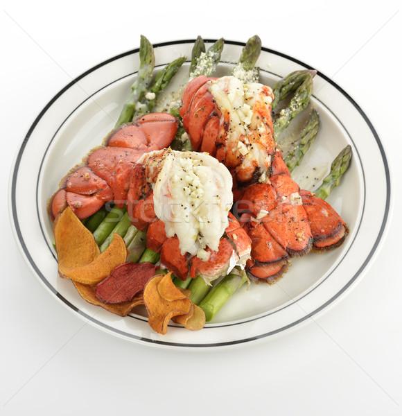 Homara grillowany ogon serwowane szparagów warzyw Zdjęcia stock © saddako2