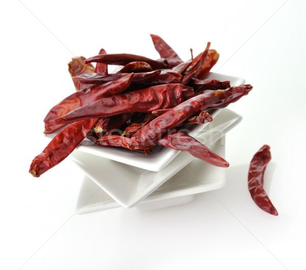 Forró piros bors fehér edény étel Stock fotó © saddako2