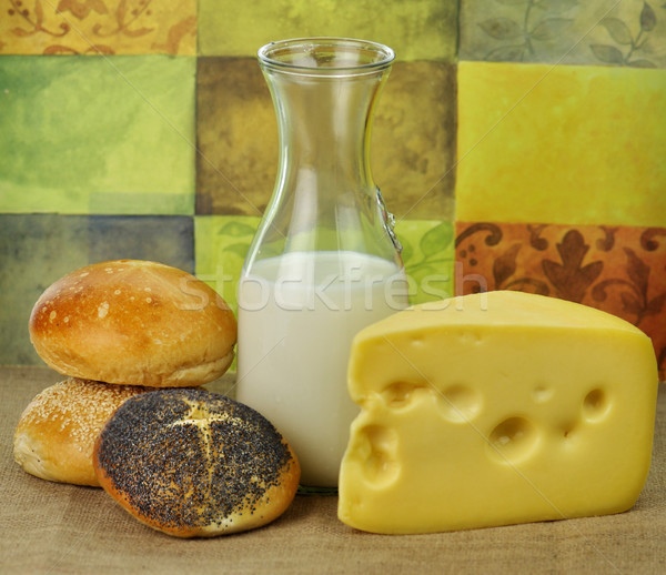 milk bottle , cheese and fresh rolls Stock photo © saddako2