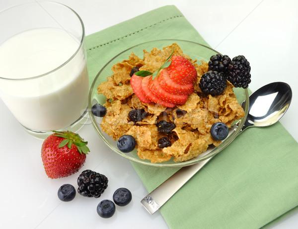 healthy breakfast with bran and raisin cereal  Stock photo © saddako2