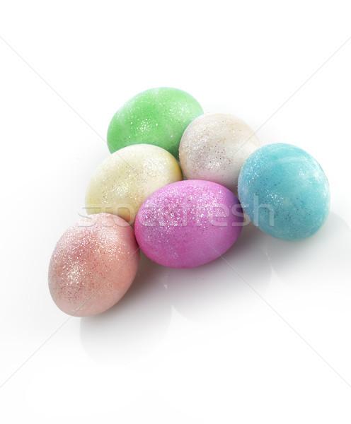 Színes húsvéti tojások fehér zöld kék piros Stock fotó © saddako2