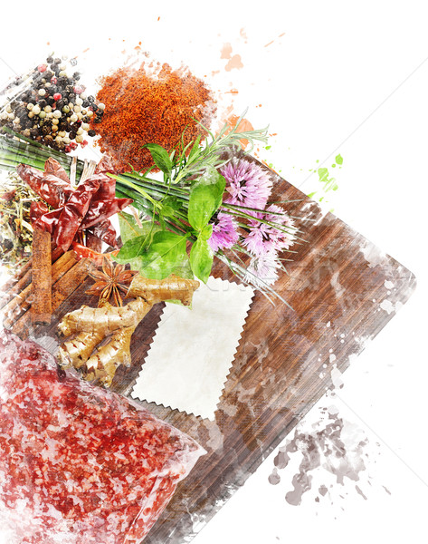 Stockfoto: Aquarel · afbeelding · koken · ingrediënten · digitale · schilderij