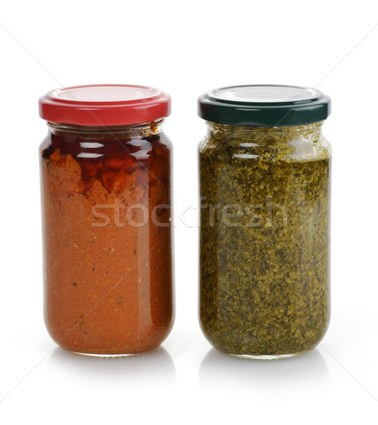 Pesto sauce verre tomate basilic vert Photo stock © saddako2
