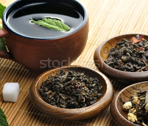 Bő zöld tea csésze tea válogatás folyadék Stock fotó © saddako2