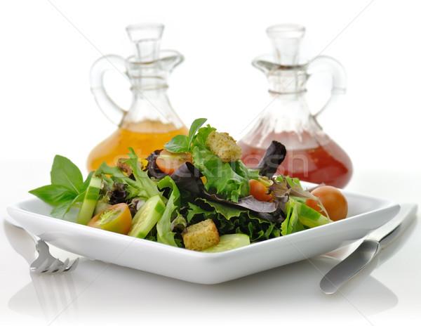 Taze salata taze sebze beyaz yemek salata sosu Stok fotoğraf © saddako2