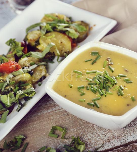 Krumpli cheddar leves pörkölt zöldségek paradicsom Stock fotó © saddako2