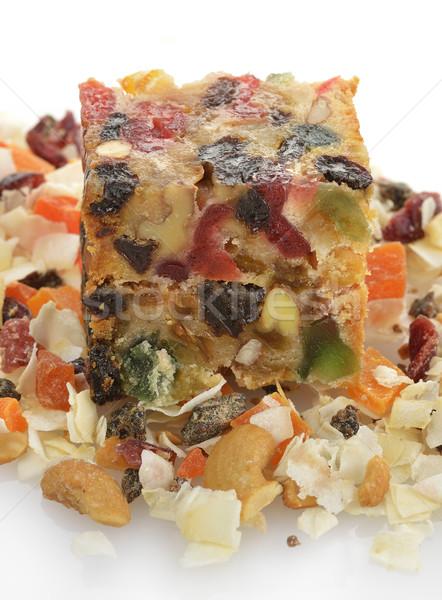 Fruitcake traditioneel christmas witte achtergrond snack gebak Stockfoto © saddako2
