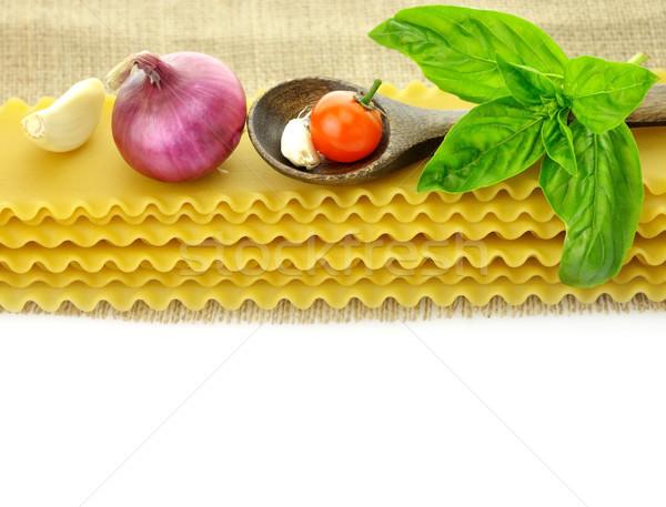 Greggio lasagna spezie bianco cucchiaio vegetali Foto d'archivio © saddako2