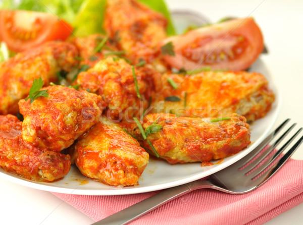 hot chicken wings with salad Stock photo © saddako2