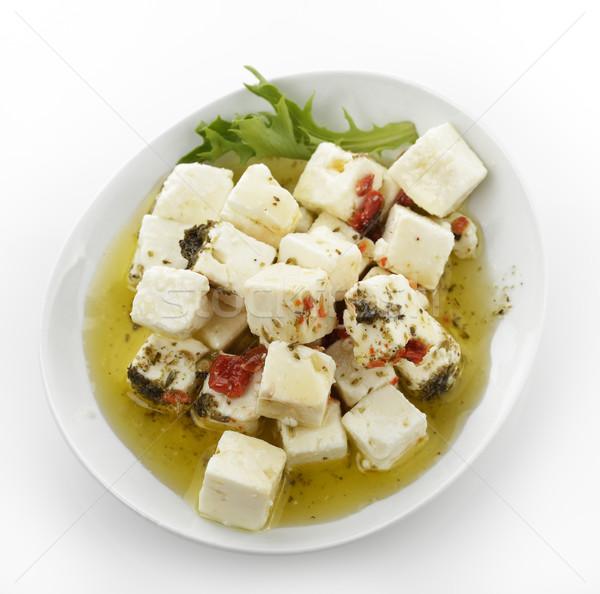 フェタチーズ 油 ハーブ オリーブオイル 葉 プレート ストックフォト © saddako2