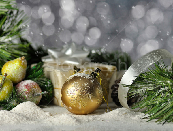 Natal vintage decoração azul bola Foto stock © saddako2