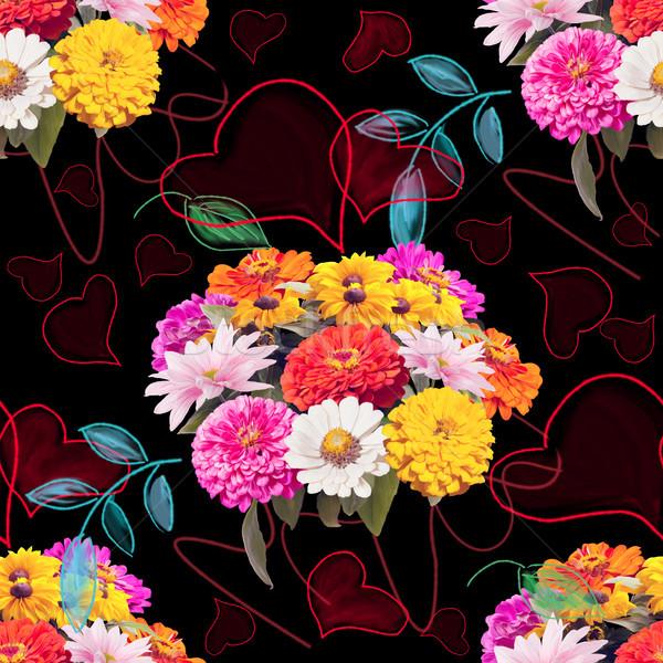 Senza soluzione di continuità floreale pattern cuori foglie amore Foto d'archivio © saddako2