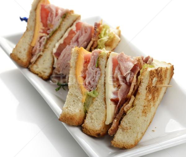 Klub szendvics sonka szalonna sajt zöldség étel Stock fotó © saddako2