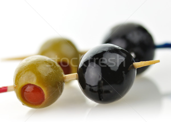 Olajbogyók fekete zöld közelkép lövés étel Stock fotó © saddako2