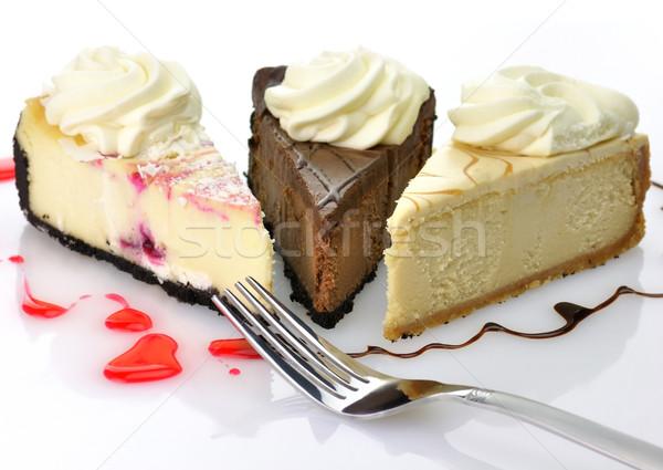 Tranches chocolat gâteau blanche dessert tarte Photo stock © saddako2