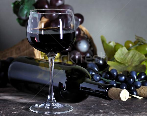 Foto stock: Vinho · tinto · tabela · bar · jantar · vermelho · preto