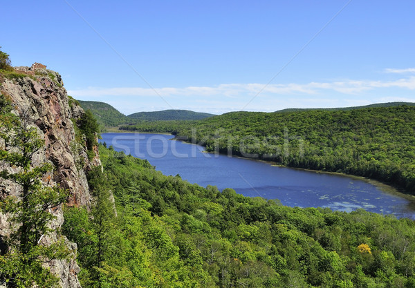 Lago view nubi montagna foresta Foto d'archivio © saddako2