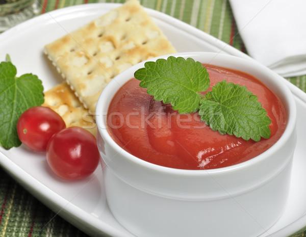 Zupa pomidorowa biały puchar liści zielone świeże Zdjęcia stock © saddako2