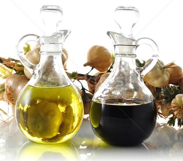 Olio aceto bottiglie vetro tavola Foto d'archivio © saddako2