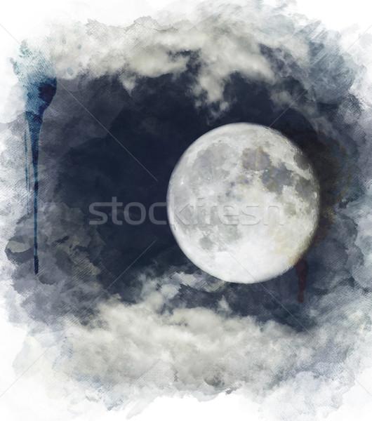 Couleur pour aquarelle image pleine lune numérique peinture ciel Photo stock © saddako2