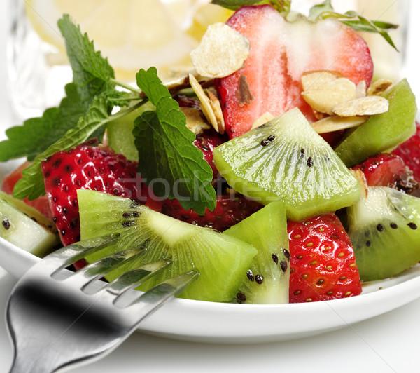 фруктовый салат свежие фрукты Салат вилка лист клубника Сток-фото © saddako2
