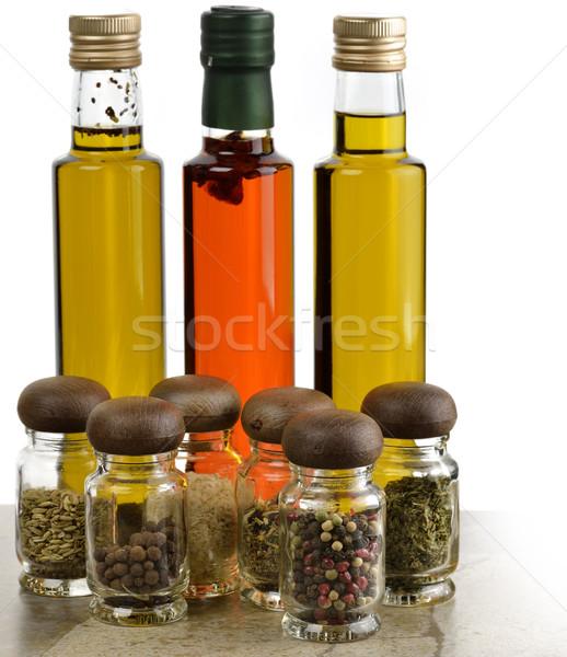 Aceite de cocina especias botellas hierbas alimentos rojo Foto stock © saddako2