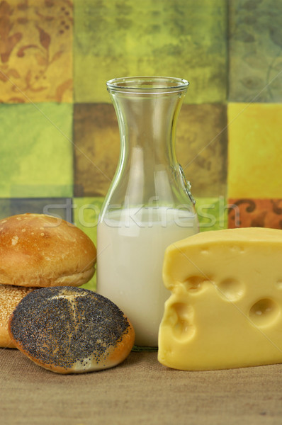 milk bottle , cheese and fresh rolls Stock photo © saddako2