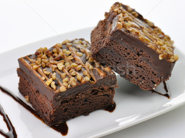 Foto stock: Chocolate · molho · comida · bolo · prato · preto