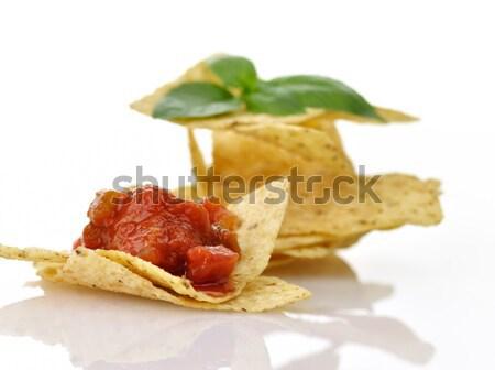 кукурузы плоская маисовая лепешка чипов Сальса белый Сток-фото © saddako2